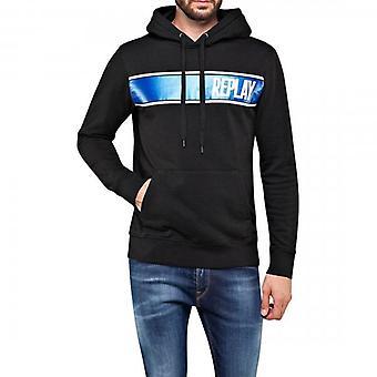 Replay Metallic Logo Hoody Sweatshirt Black M3082