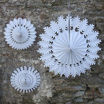 Weißes Papier Schneeflocken X 3-Weihnachtsdekoration - gefroren - Xmas Fenster anzeigen