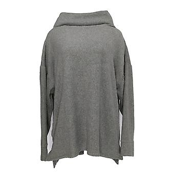 Cuddl Duds Women's Plus Top Fleece Stretch Mock Neck Pullover Gray A293094