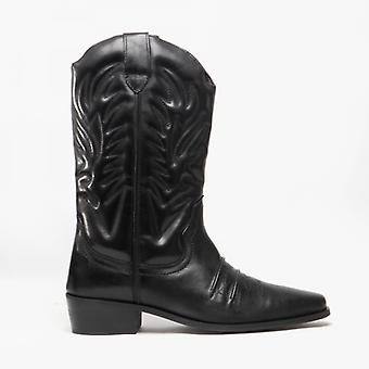 Woodland Kansas Mens Calf Length Leather Cowboy Boots Black