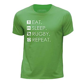 STUFF4 Boy's Round Neck T-Shirt/Eat Sleep Rugby Repeat/Green