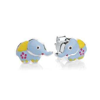 David Deyong Children's Sterling Silver Blue Elephant Stud Earrings