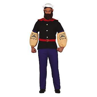 Mens Sailor Popeye Fancy Kjole Kostyme