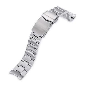 Strapcode watch bracelet 20mm super 3d oyster 316l stainless steel watch bracelet for seiko mechanical automatic sarb033, v-clasp, brushed