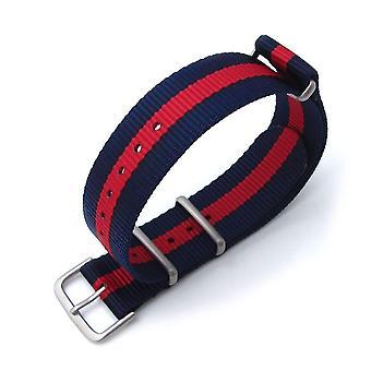 Strapcode n.a.t.o katsella hihna miltat 20mm g10 sotilaallinen katsella hihna ballistinen nylon käsivarsinauha, harjattu - punainen & sininen raidat