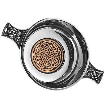 """Celtic Rose Pewter Quaich - 3.5"""""""