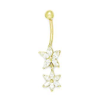 14k Yellow Gold CZ 14 Gauge Bungelen2 Flower Drop Body Sieraden Buikring maatregelen 37x10mm sieraden geschenken voor vrouwen