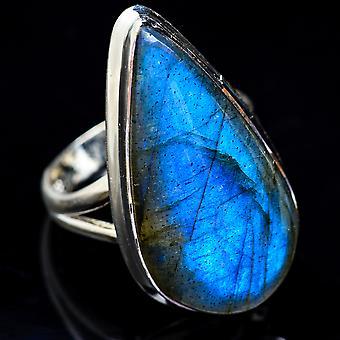 Large Labradorite Ring Size 8.5 (925 Sterling Silver)  - Handmade Boho Vintage Jewelry RING3574