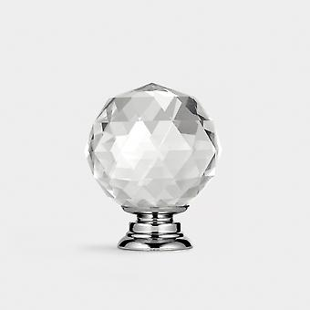 Crystal Door Knob - Clear / Silver - Faceted - 40mm