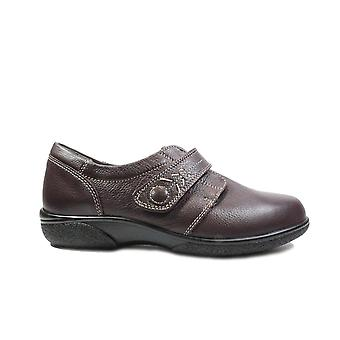Easy B Healey 4E Wine Leather Womens Wide Fitting Rip Tape Shoes