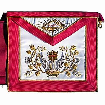 Masonic scottish rite aasr silk cardinal red apron 18th degree hand embroidered