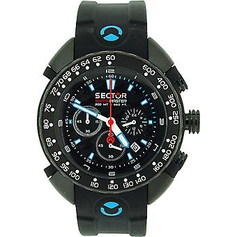 Sector Shark Master Gents Chronograph Black Silicone Strap Watch R3271678125