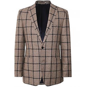 Munro Linen Silk Windowpane Check Jacket