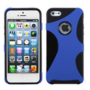 Asmyna Rubberized Cragsman Mixy Custodia per Apple iPhone 5s/5 - Blu scuro/Nero