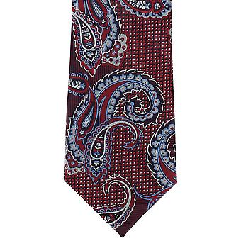 מייקלסון של לונדון Twill פייזלי פוליאסטר עניבה-אדום