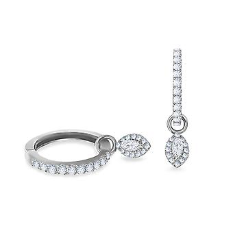 Earrings Hoops Biblos 18K Gold and Diamonds - White Gold