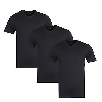 BOSS Three Pack V-Neck Black Regular Fit T-Shirts