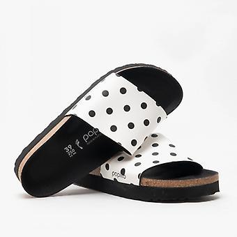 Папиллио По Биркенсток Кора 1015877 (нар) Дамы Бирко-флор Мул сандалии белые / черные точки