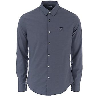 Men's Armani Small Logo Long Sleeve Shirt in Blue