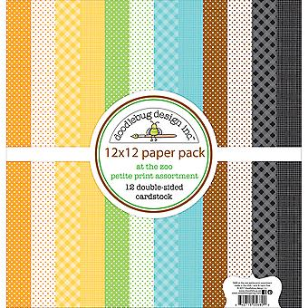 Doodlebug Design At the Zoo 12x12 Inch Petite Print Paper Pack