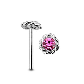 Gemmed Twined Flower Straight Nose Pin