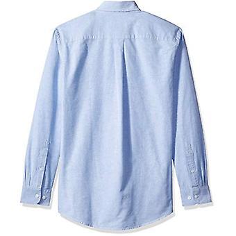 Essentials Men's Regular-Fit Langærmet Solid Pocket Oxford Shirt, Bl...