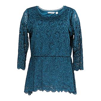 Isaac Mizrahi Live! Women's Top Stretch Floral Lace Blue A298792