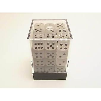 Chessex 12mm D6 Block - Frosted Clear/black