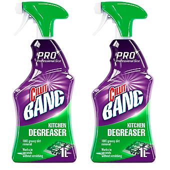 2 x 1 Ltr Cillit Kitchen Cleaner Fast Degreaser Dishes Glass Oven Spray