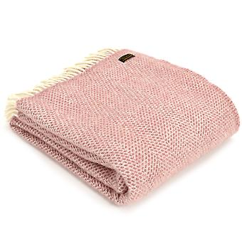 Tweedmill Pure New Wool Knee Lap Blanket, Beehive Dusky Pink