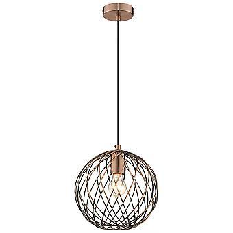 1 Light Wire Ceiling Pendentif Antique Copper, E27