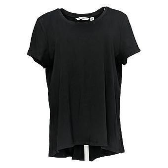 Isaac Mizrahi Live! Women's Top regolare con cucitura posteriore curva nero A375680