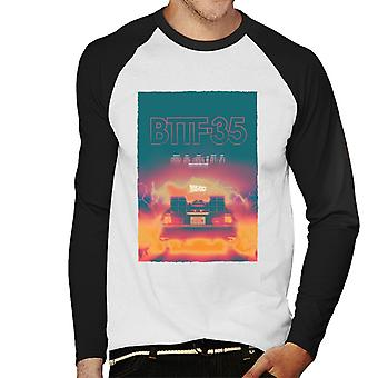 Back to the Future Delorean 35 Electric Flames Men's Baseball Long Sleeved T-Shirt