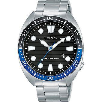 Lorus Mens Sports Bracelet Watch with Black Striped Dial (Model No. RH921LX9)