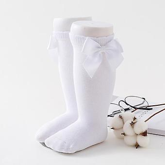 Newborn Baby Socks - Big Bow Knee High, Long And Soft Cotton Lace