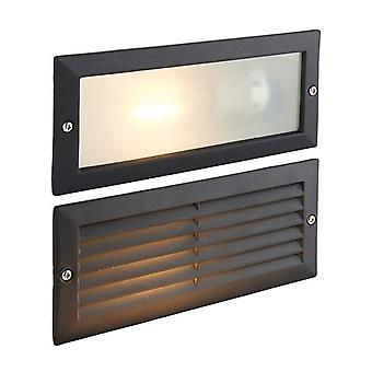 Saxby Lighting Eco - Outdoor Plain & Louvre IP44 40W getextureerde zwarte verf en matglas