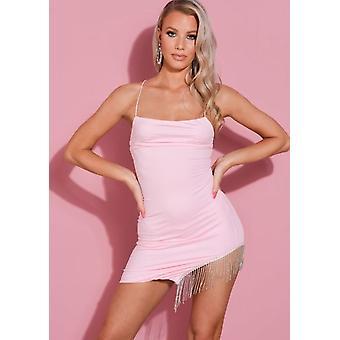 Diamante Tassel Cut Out Cross Strap Mini Dress Pink
