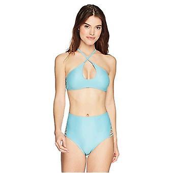 Brand - Mae Women's Swimwear Strappy High Waist Cheeky Bikini Bottom,Antique Jade,Large
