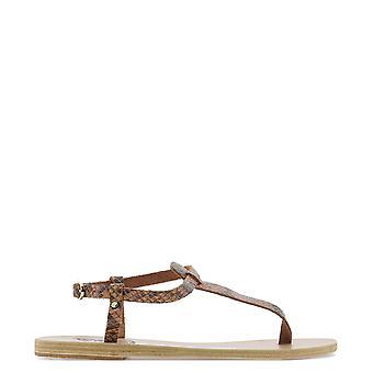 Sandales grecques antiques Litovachettacolleatherthontampa Femmes's Brown Leather Flip Flops