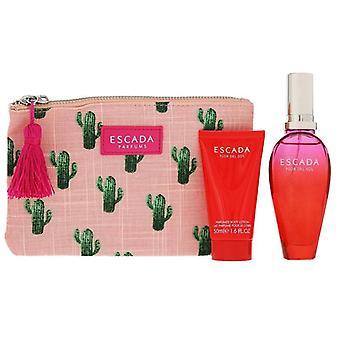 Giftset Escada Flor Del Sol Edt 50ml + 50ml BodyLotion + Clutch Bag