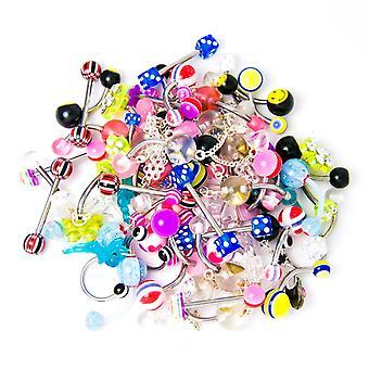 Assorted body jewelry - 60-piece bundle - belly, tongue, nipple, eyebrow include