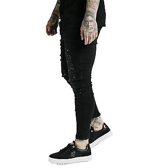 SikSilk Distressed Riot Denim Jeans - Black