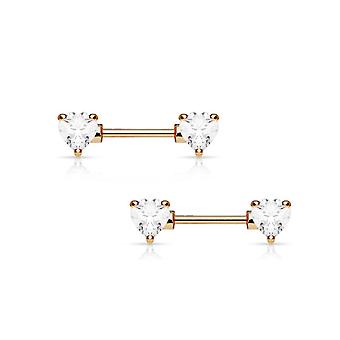 Pair of rose gold nipple barbells 14g surgical steel with heart shaped cz gems