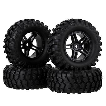 4PCS RC 1:10 Rock Crawler Black Plastic Pentagram Wheel Rim And Rubber Tyre