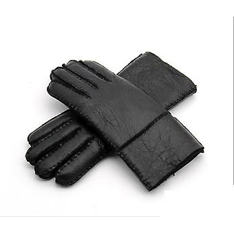 New Men Winter Warm Genuine Sheep Fur Gloves, Men Real Leather Leather Snow