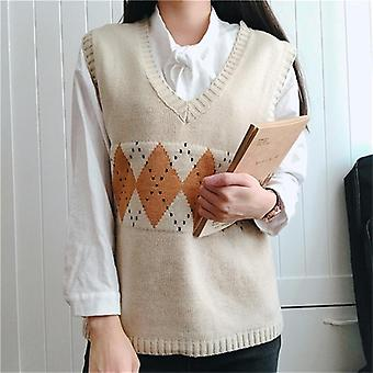 Vangull Women Sweater Vest Vintage Geometric Argyle V Neck Sleeveless Pullovers