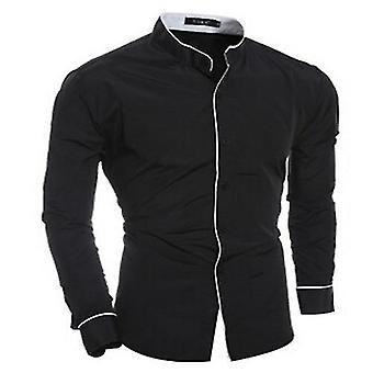Men's shirts, أنيقة عارضة V الرقبة قميص, سليم صالح قمم رسمية طويلة الأكمام