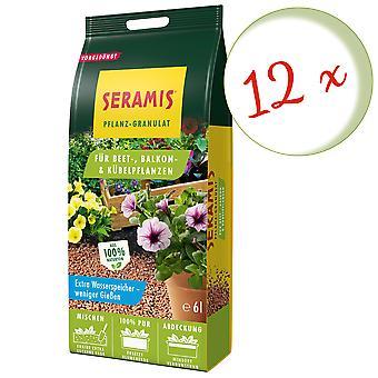 Glesaste: 12 x SERAMIS® växtgranulat för säng, balkong & krukväxter, 6 liter