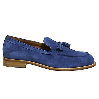 Hackett London FC Tassel Suede Leather Blue Slip On Mens Loafers HMS20804 588