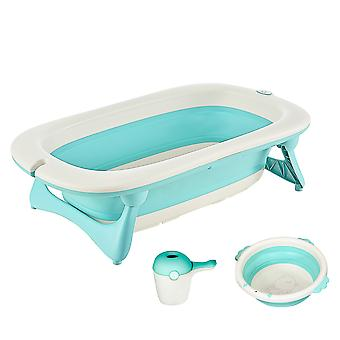 HOMCOM 3 in 1 Collapsible Baby Bath Tub Set Folding Kids Tub Wash Basin Shampoo Cup Non-Slip Support Leg for 0-3 Years, Green